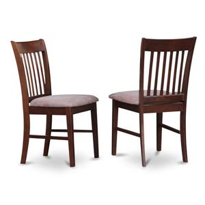 East West Furniture Norfolk 18-in Mahogany Side Chairs With Microfiber Seats (Set of 2)