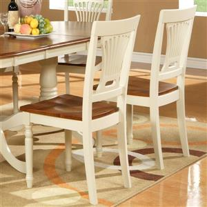 East West Furniture Plainville 18-in Buttermilk & Cherry Dining Chairs (Set of 2)
