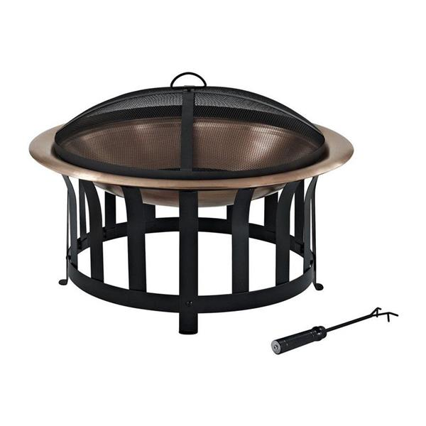 Crosley Furniture Ridgeway 30-in x 30-in x 19-in Black Steel Copper Bowl Outdoor Wood Burning Fireplace