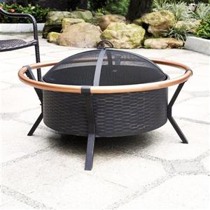 Crosley Furniture Yuma 34-in x 34-in x 19-in Black Steel Copper Ring Outdoor Wood Burning Fireplace