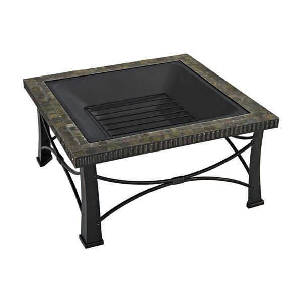 Crosley Furniture Firestone 30-in x 30-in x 20-in Black Square Slate Outdoor Wood Burning Fireplace
