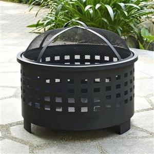 Crosley Furniture Hudson 25-in x 25-in x 15-in Black Steel Basket Weave Outdoor Wood Burning Fireplace