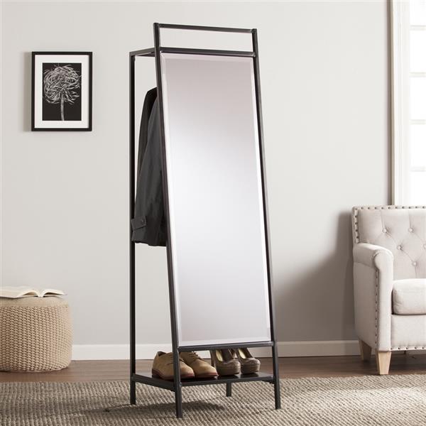 Boston Loft Furnishings Drappen 65-in x 17.50-in Black Beveled Rectangle Standing Mirror