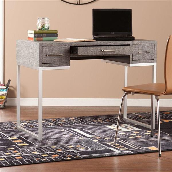 Boston Loft Furnishings Crecia Faux Grey Reptile Computer Desk