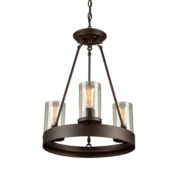 Artcraft Lighting Menlo Park Collection 96-in Dark Chocolate Brown Clear Glass French Country Cottage 3-Light Candle Chandelier
