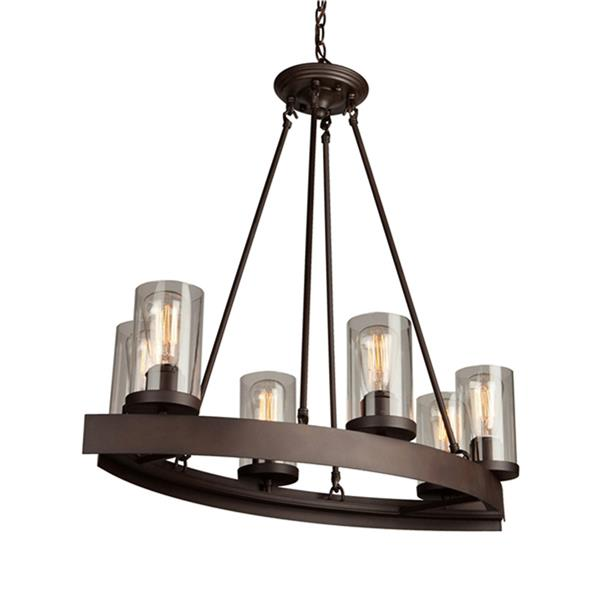 Artcraft Lighting Menlo Park Collection 96-in Dark Chocolate Brown Clear Glass Fench Country Cottage 6-Light Candle Chandelier