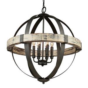 Artcraft Lighting Castello Collection 96-in Black Aspen Wood 6-Light Globe Chandelier
