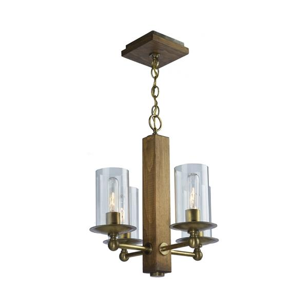 Artcraft Lighting Legno Rustico Colleciton 36-in Light Natural Pine Burnished Brass Clear Glass 4-Light Rustic Candle Chandelier
