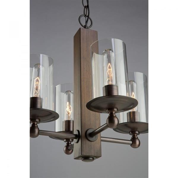 Artcraft Lighting Legno Rustico Colleciton 36-in Dark Natural Pine Brunito Bronze Clear Glass 4-Light Rustic Candle Chandelier