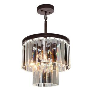 Arctraft Lighting El Dorado Collection 13-in Java Brown 3-Light Glam Crystal Waterfall Chandelier