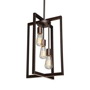 Artcraft Lighting Gastown Collection 42-in Oil Rubbed Bronze 3-Light Industrial Cage Chandelier