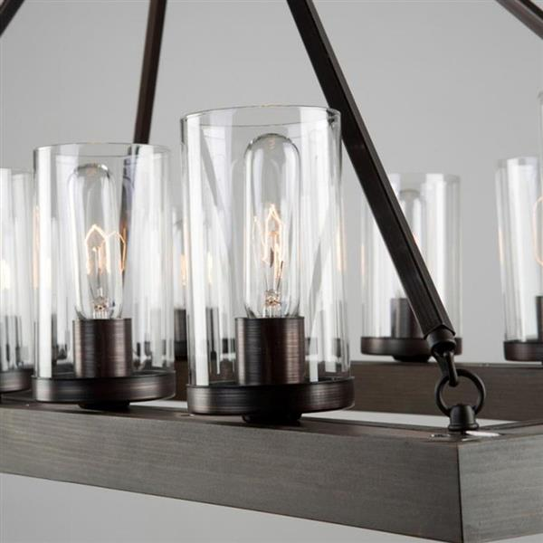 Artcraft Lighting Jasper Park Collection 96-in Brunito Clear Glass 8-Light Rustic Candle Chandelier