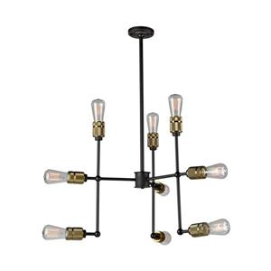 Artcraft Lighting Jersey Collection 42-in Vintage Brass 9-Light Industrial Abstract Chandelier