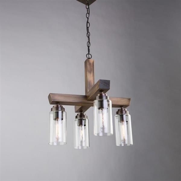 Artcraft Lighting Home Glow Collection 36-in Distressed Pine Clear Glass 4-Light Linear Chandelier