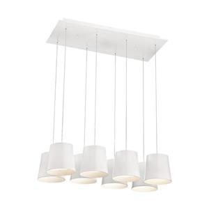 Eurofase Borto Collection 72-in White 8-Light Transitional Shaded LED Chandelier