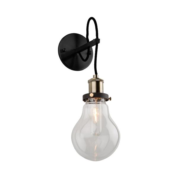 Artcraft Lighting Edison 5.25-in W 1-Light Matte black/vintage brass Arm Wall Sconce
