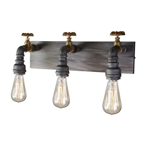 Artcraft Lighting American Industrial 3-Light 16-in Iron/brass Vanity Light