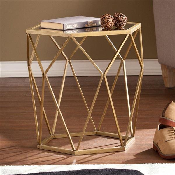 Boston Loft Furnishings Athena 18.5-in x 19-in x 18.75-in Gold Glass Modern End Table