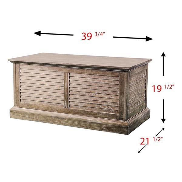 Boston Loft Furnishings Abra 36.5-in x 18.25-in x 14.25-in White Limed Burnt Oak Finish Rectangular Trunk Coffee Table