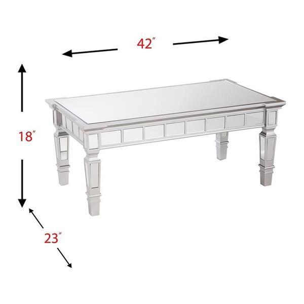 Boston Loft Furnishings Glalie 35.75-in x 16.75-in x 13-in Silver Mirrored Fir Rectangular Coffee Table