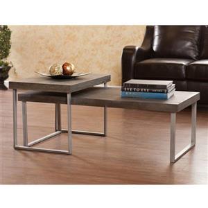 Boston Loft Furnishings Addeo 2-Piece Burnt Oak Accent Table Set (Set of 2)