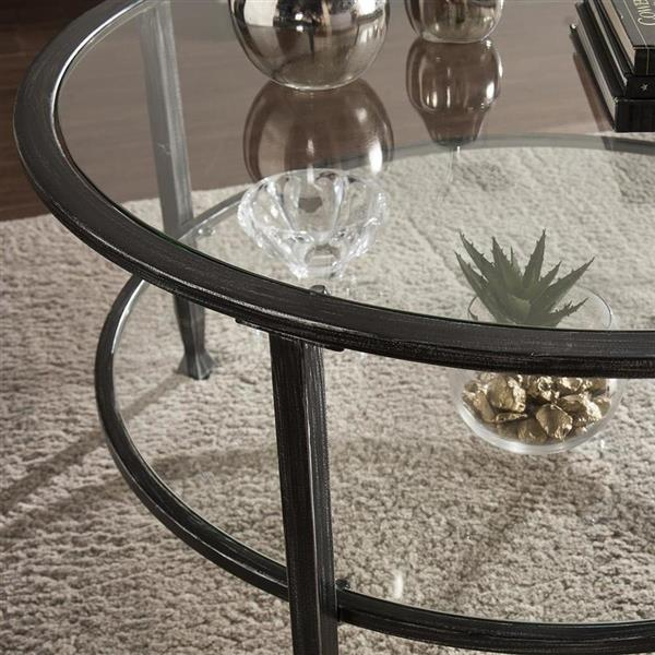 Boston Loft Furnishings Lea 36-in x 36-in x 18-in Clear Glass Round Coffee Table