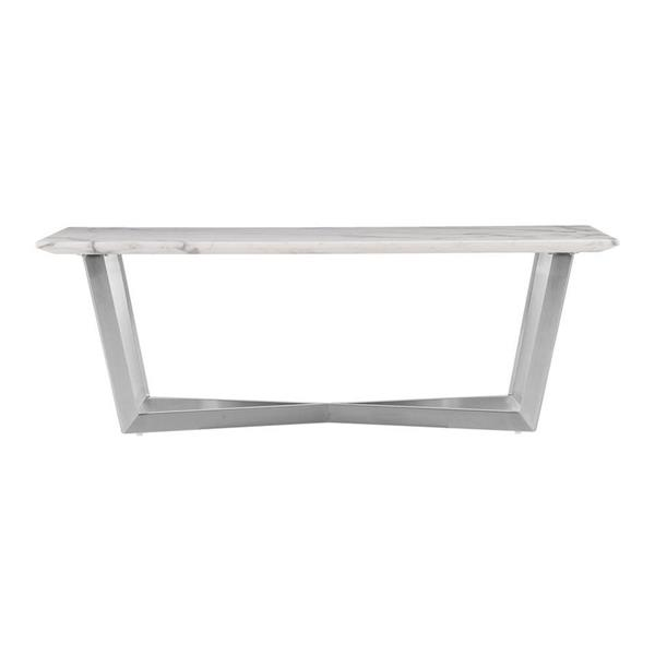 Boston Loft Furnishings Wrax 20-in x 46-in x 16-in Silver Frame And Veined Ivory Faux Marble Top Rectangular Coffee Table