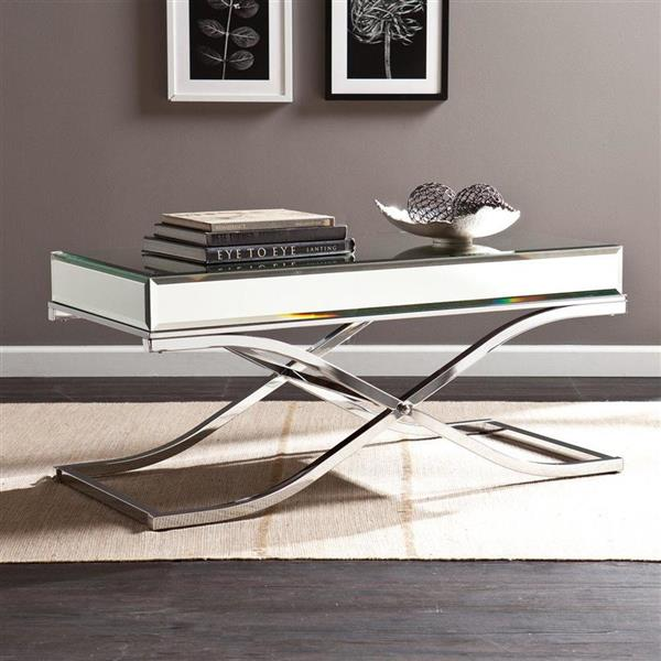 Boston Loft Furnishings Stacy 20.5-in x 42.25-in x 19-in Chrome Frame And Mirrored Top Rectangular Cocktail Table