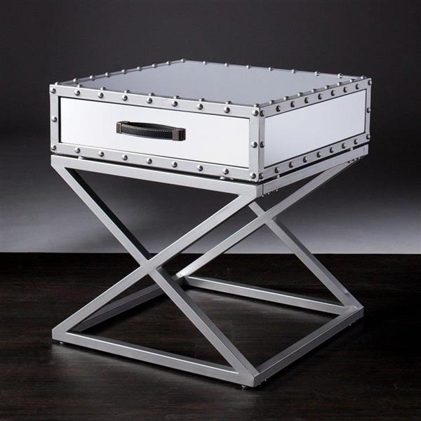Boston Loft Furnishings Krenshaw 22.5-in x 23-in x 24.5-in Matte Silver and Grey Grained White Marble Glass Glam End Table