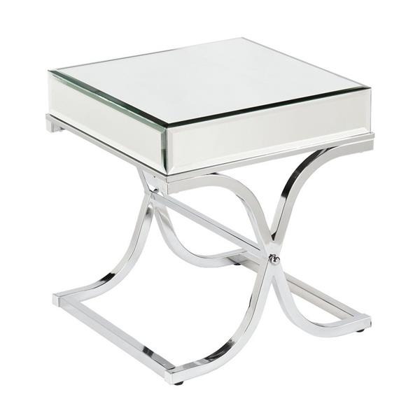 Boston Loft Furnishings Stacy 20.5-in x 20.5-in x 22.25-in Chrome Glass Glam End Table