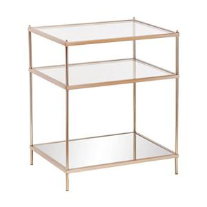 Boston Loft Furnishings Hawthorne 18-in x 22-in x 26.75-in Metallic Gold Glass Midcentury End Table