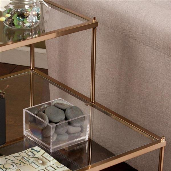 Boston Loft Furnishings Hawthorne 20.5-in x 24-in x 23.75-in Metallic Gold Glass Midcentury End Table