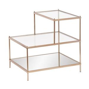 Boston Loft Furnishings Hawthorne 20.5-in x 24-in x 23.75-in Metallic Gold Glass Midcentury End Table