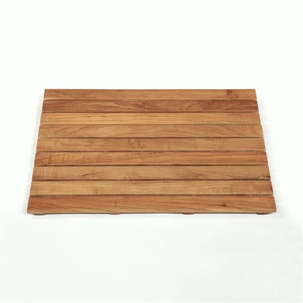 "Tapis de bain en bois naturel, 25"" x 18"", teck, brun"