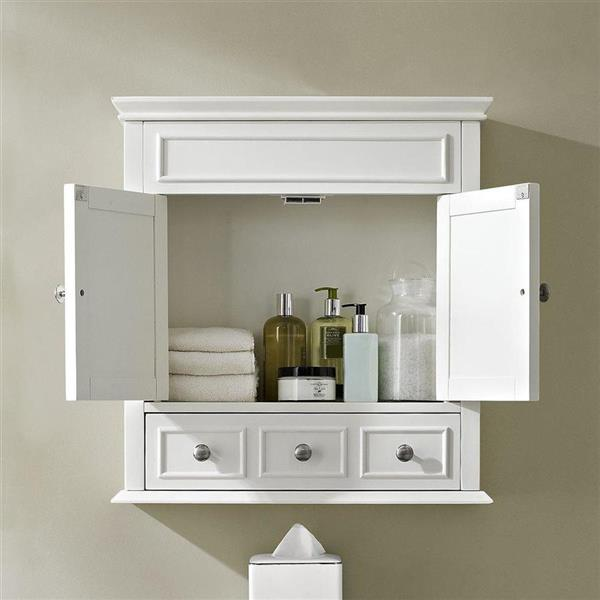 Crosley Furniture Lydia 24.25-in W x 25.75-in H x 9.25-in D White Composite Freestanding Linen Cabinet