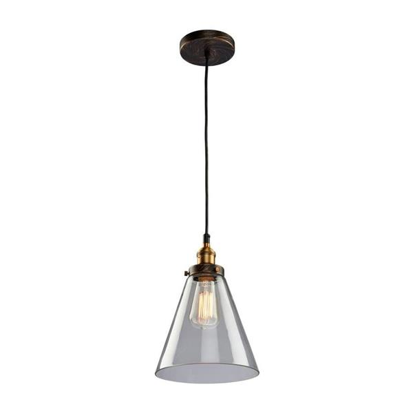 Artcraft Lighting Greenwich 7.5-in Multi-tone brown/copper Industrial Hardwired Mini Clear glass Cone Pendant