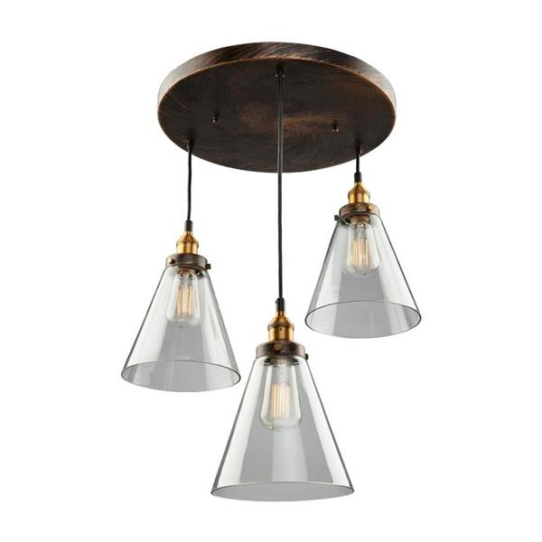 Artcraft Lighting Greenwich Multi-Tone Brown/Copper Industrial  Multi-Light Clear Glass Pendant Lighting