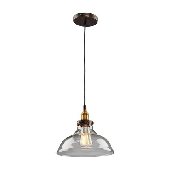 Artcraft Lighting Greenwich Multi-Tone Brown/Copper Industrial Single Clear Glass Warehouse Pendant Lighting