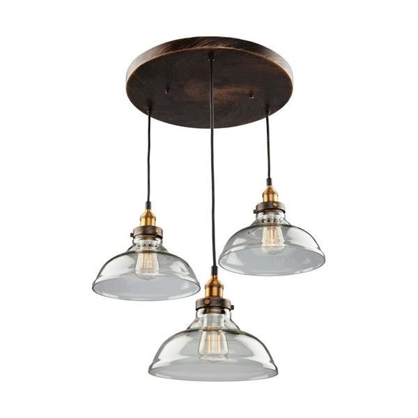 Artcraft Lighting Greenwich Multi-Tone Brown/Copper Industrial  Multi-Light Clear Glass Pendant Lighting