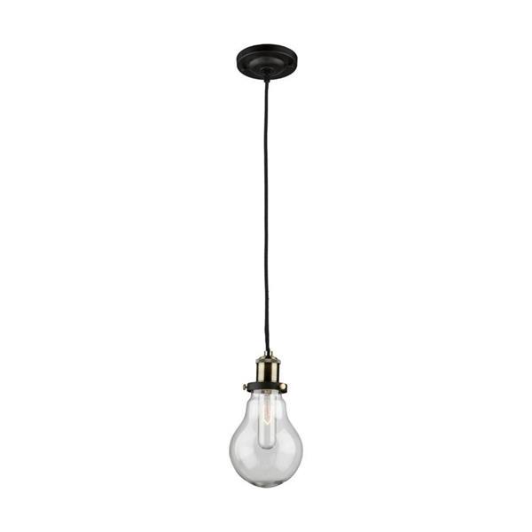 Artcraft Lighting Edison  Matte Black/Vintage Brass Industrial  Multi-Light Clear Glass Pendant Lighting
