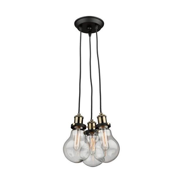Artcraft Lighting Edison Matte Black/Vintage Brass Crystal Multi-Light Clear Glass Pendant Lighting