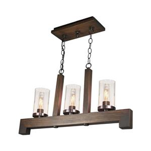 Artcraft Lighting Jasper Park 27.0-in W 3-Light Brunito Rustic Kitchen Island Light with Clear Shade