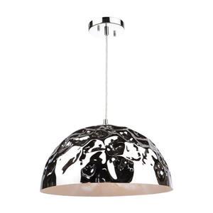 Artcraft Lighting Artcraft Lighting Forged Metal 16-In x 8.5-In Chrome Hardwired Single Dome Pendant Lighting