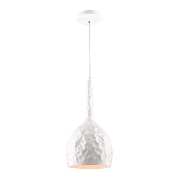 Artcraft Lighting Artcraft Lighting Forged Metal 7.5-In x 16-In Glossy White Hardwired Mini Teardrop Pendant Lighting