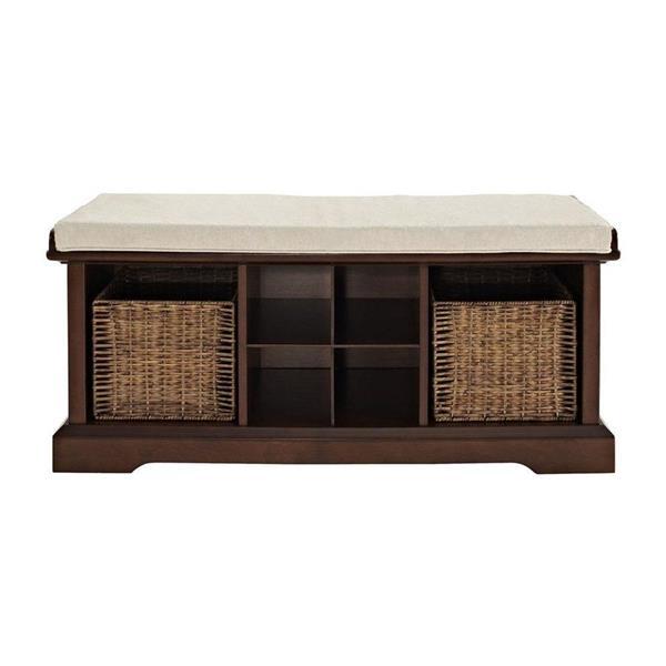 Crosley Furniture Brennan 18.25-in x 42.00-in Casual Mahogany Storage Bench