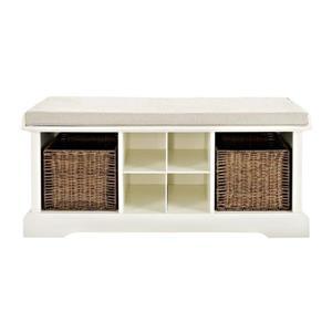Crosley Furniture Brennan 18.00-in x 42.00-in Casual White Storage Bench