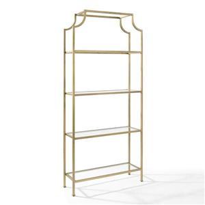 Crosley Furniture Aimee 36-in x 80-in Antique Gold Metal Etagere