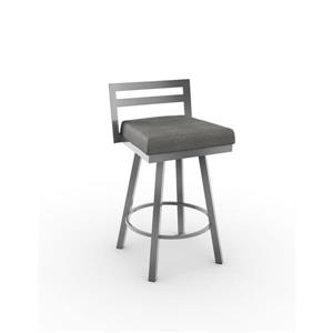 "Amisco Derek Swivel Bar Stool - 33.8"" x 18.3"" - Metal - Grey"