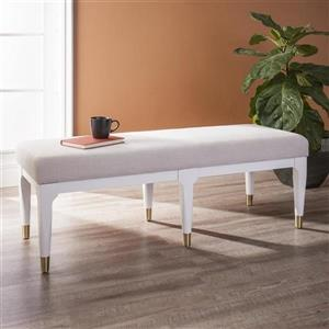 Boston Loft Furnishings Dalkin Midcentury 18.50-In x 52-In White Linen Accent Bench