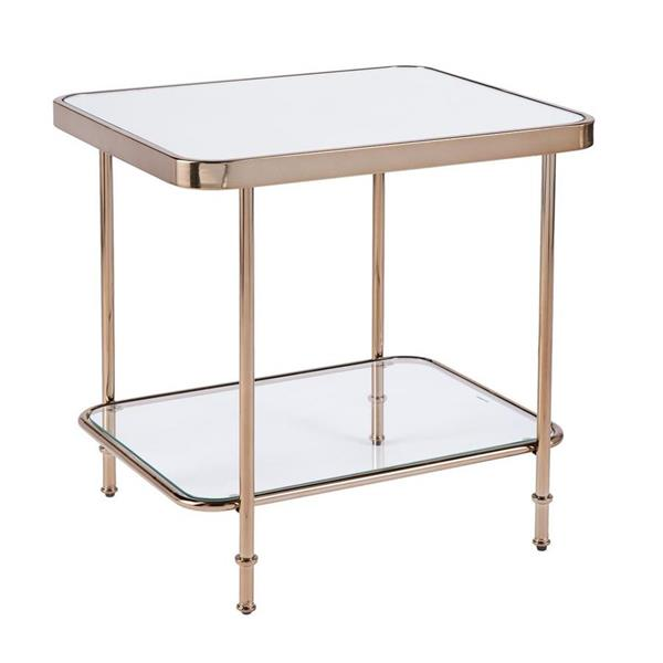 Boston Loft Furnishings Shipley 24-in x 20.25-in x 24.25-in Champagne With Mirror And Glass Mirror End Table